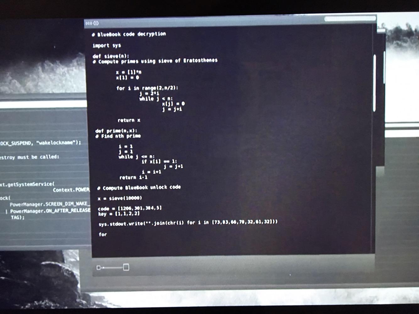 Photo of I'm watching exmachina, guess the #programming language